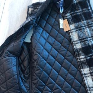 NWT MADEWELL REVERSIBLE BLACK FLANNEL VEST SMALL